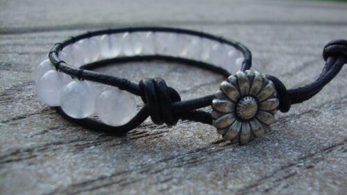 Rose Quartz 8mm Gemstone Beaded Wrap Bracelet Leather  USA