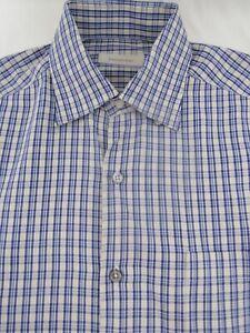 Recent-ERMENEGILDO-ZEGNA-Straight-Bottom-Blue-Check-Shirt-L-Italy
