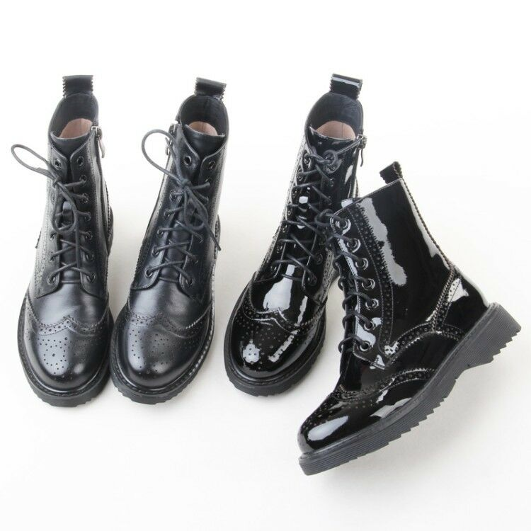 Womens Ladies Fashion Patent Leather Lace Up Brogue Biker Ankle Boots shoes qigq