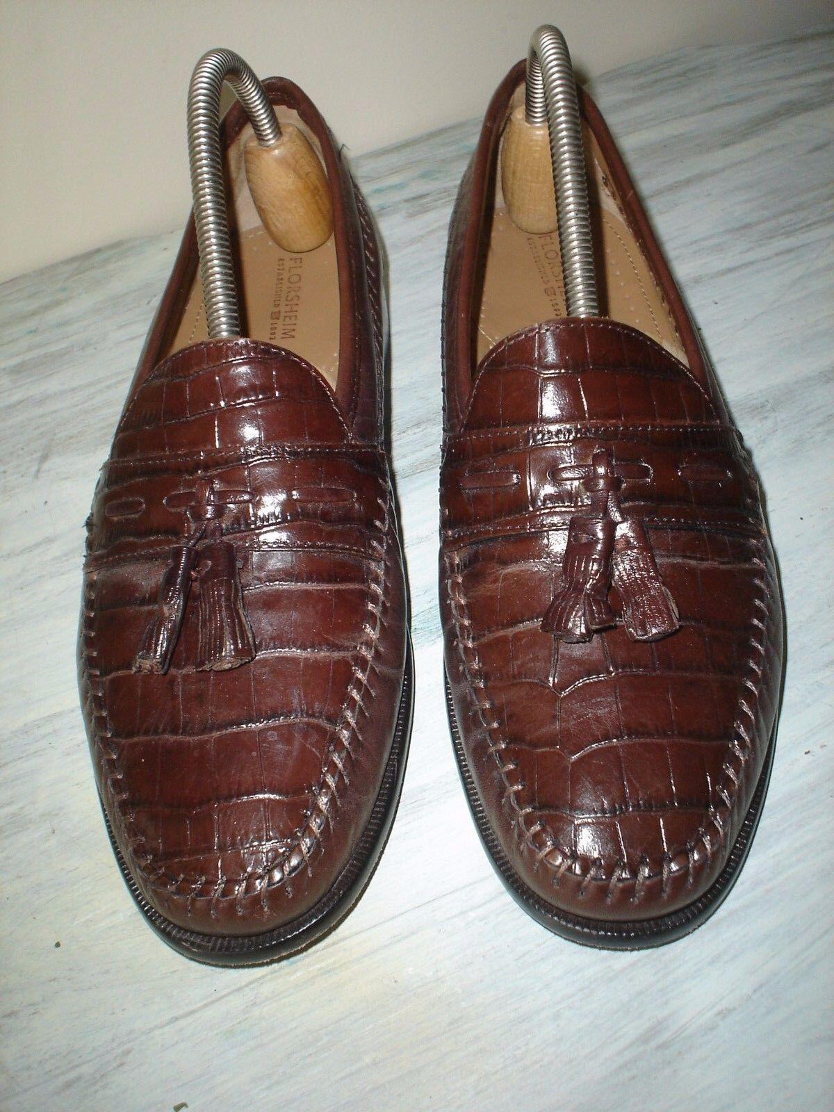 FLORSHEIM Uomo Pisa Brown Croc Pelle 8 Tassel Loafer Slip On Dress Shoes 8 Pelle D EUC a4cd9f