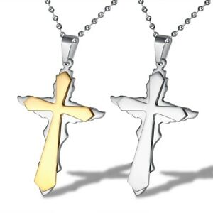 Herren-Titan-Edelstahl-Kette-Halskette-Kreuz-Cross-Anhaenger-silber-bicolor