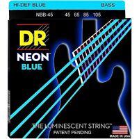 Dr Nbb-45 Neon Hidef Blue Coated Bass Strings, Medium Gauge 4's - 45-105