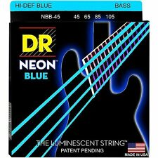 DR NBB-45 NEON HiDef BLUE COATED BASS STRINGS, MEDIUM GAUGE 4's - 45-105