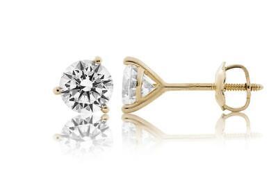 Round Cut Forever Classic Moissanite 14k Yellow Gold 3Pr Screwback Stud Earrings