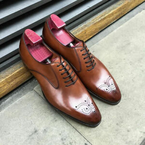Top-Qualite-Fait-Main-Oxford-Chaussures-en-cuir-robe-Hommes-Marron-a-Lacets-Formel-Chaussures