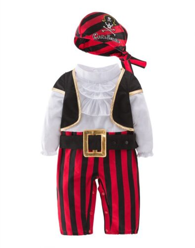 Baby Boy Girl Carnival Pirate Captain Costume Outfit Cloth Party Dress Cosplay
