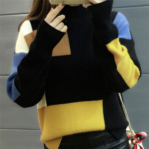 Women Fashion Contrast Color Pullover Jumper Long Sleeve Knitted Tops SweaSP