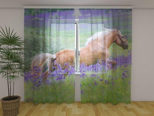 """Fotodruck Fotogardine aus Chiffon /""""Pferd auf Blumenfeld /"""" Vorhang auf Maß"""