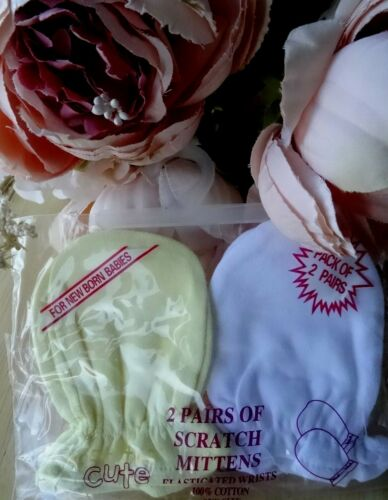 2 PAIRS Pack 100/% Cotton Baby Boy Girl White Pink Blue Lemon Cream Scratch Mitts