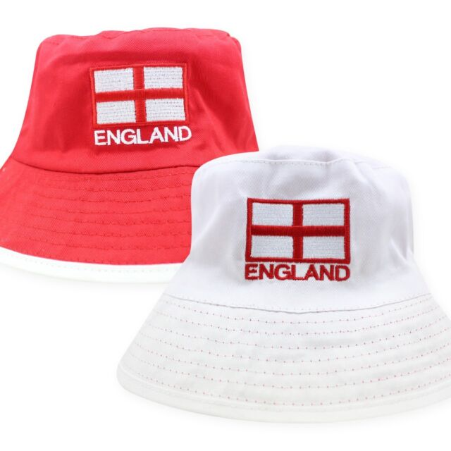 REVERSIBLE England Football Cricket Summer Sun Bucket Hat World Cup 2018 4091a56ce33