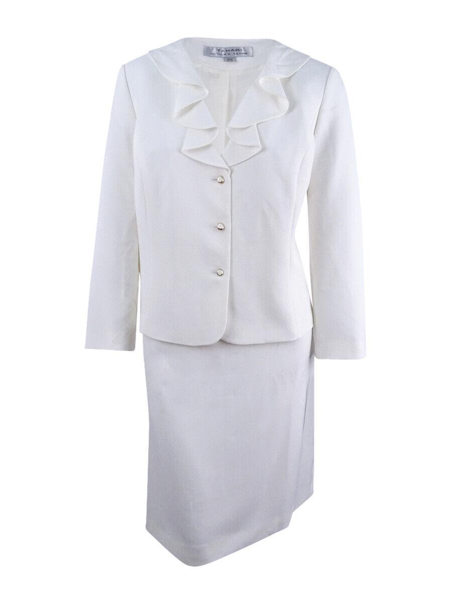 Tahari ASL Women's Plus Size Ruffled Skirt Suit