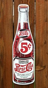 Pepsi Cola Glass Like Bottle Die Cut Out Metal Tin Sign Vintage Style Bar Garage