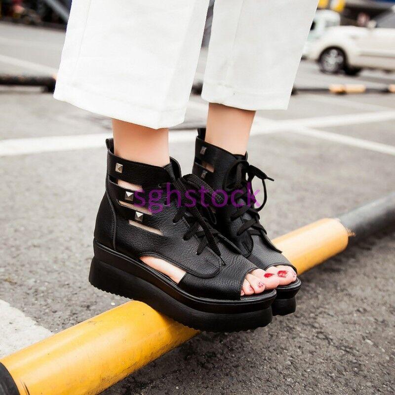 2019 Womens Open teo Cut out Rivets Platform Hidden Wedge Ankle Sandals Boots US