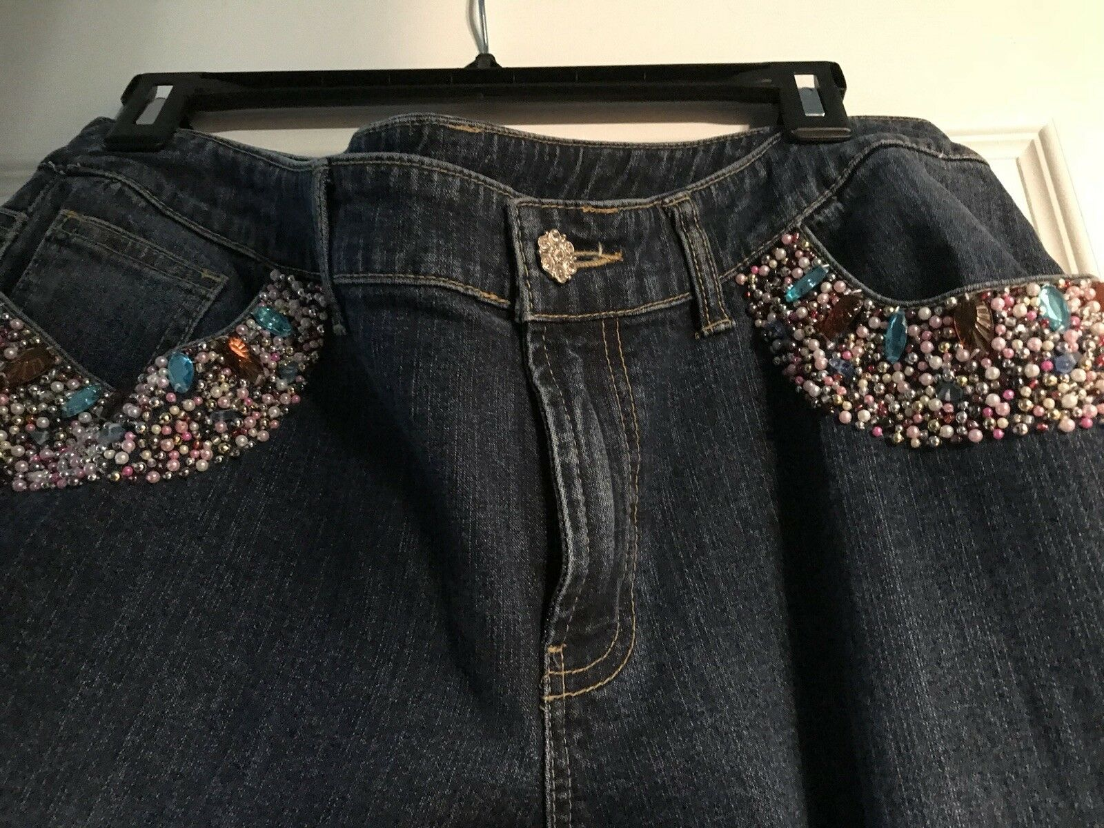Willi Smith Stunning Jeweled Jeans Women's 14  Very Hard To Find This One
