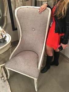 Marvelous Details About Modern Vintage Faux Linen Wood Accent High Back Accent Chair Aged White Finish Bralicious Painted Fabric Chair Ideas Braliciousco