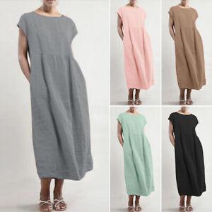 Plus-Size-Womens-Boho-Casual-Cotton-Linen-Long-Maxi-Dress-Ladies-Baggy-Kaftan