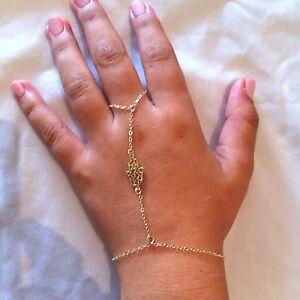 Details About Hamsa Bracelet Gold Finger Ring Slave Lucky Hand