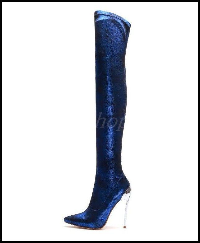 Sexy Mujeres Puntera botas Puntiaguda Elástico Sobre Rodilla Muslo Tacón Alto Zapatos botas Puntera de Metal Romano d1520f