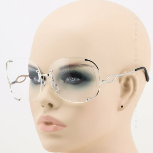 Oversized Round Squared Rimless Vintage Retro Clear Lens Sunglasses Glasses NEW