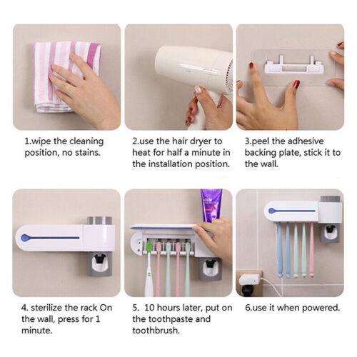 2 in 1 UV Light Ultraviolet Toothbrush Sterilizer Toothbrush Holder Automatic