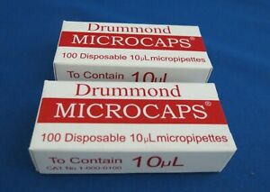 Pack of 100 Drummond Scientific Microcap 1-000-0100 Microliter Pipets 10/µL Capacity