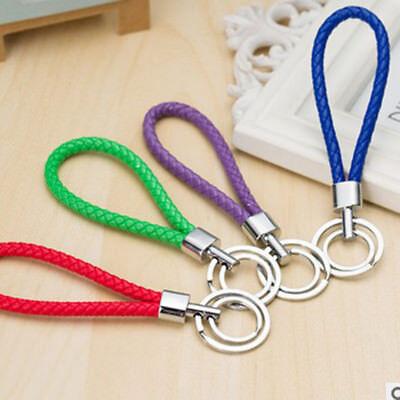 Fashion Braided PU Leather Strap Keyring Keychain Car Key Chain Ring Key Fob new