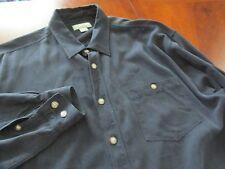 TOMMY BAHAMA Sz XL Black SILK Herringbone Long Sleeve Men's Shirt
