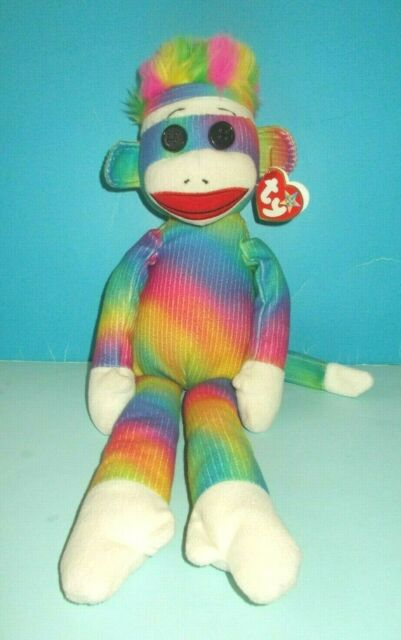 ~ MWMT ~ RARE Plush Medium ~ 16 inch Ty Beanie Buddy RAINBOW SOCK MONKEY