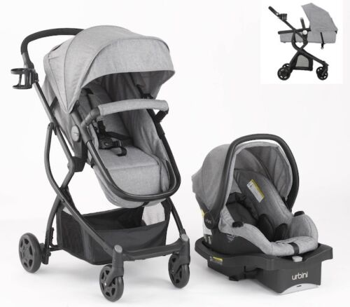 Grey Baby Stroller Car Seat Carriage Set Travel 3 in 1 System Bassinet Soft Gray