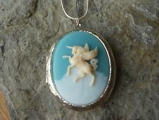 UNICORN, PEGASUS ON A CLOUD CAMEO LOCKET (CREAM, BLUE) - .925 SILVER PLATED