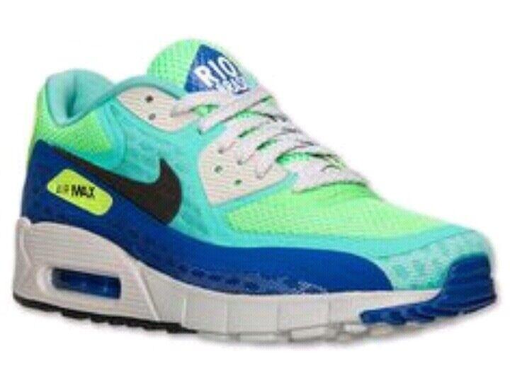 NICE Men's Size 9.5 Neon Air Max Shoes 90 Brazil Blue Green Yellow Rio Brasil US