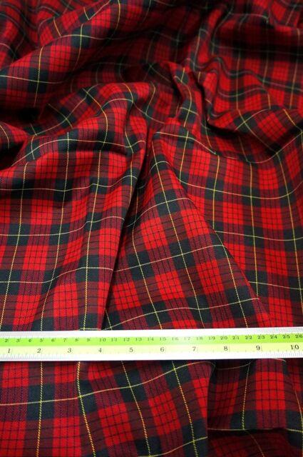 "RED BLACK SQ Plaid Tartan Cotton Woven FABRIC 44""W DRAPE TABLECLOTH DRESS QUILT"