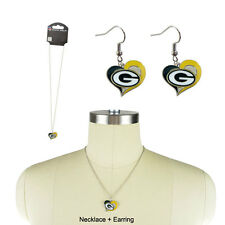 NFL Sports Team Logo Swirl Heart Necklace Charm Gift Set Green Bay Packers