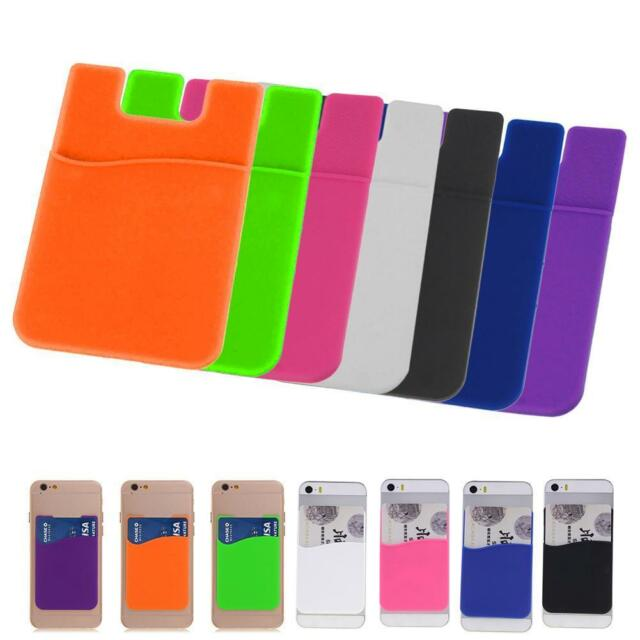 Smart Silicone Wallet Credit Card Cash Stick Adhesive Holder Case For Phone ✿Q
