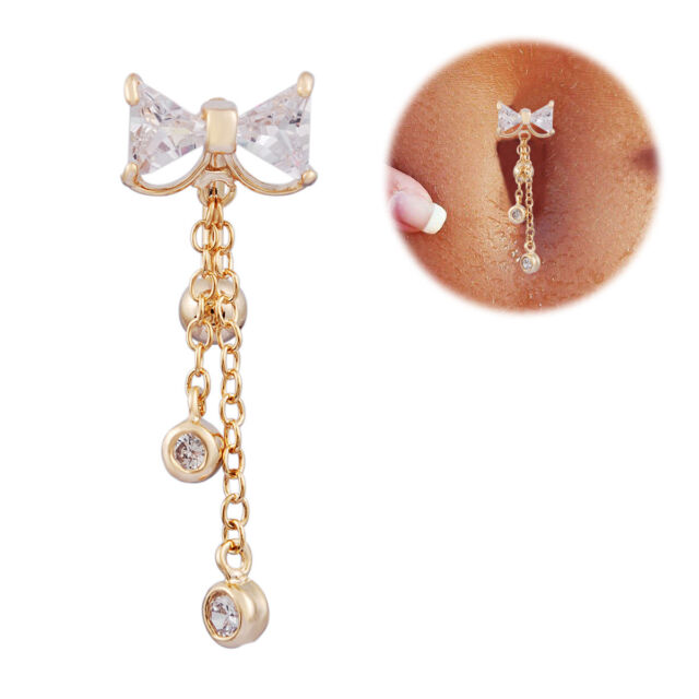Nice Reverse Belly Ring Dangle Clear Navel Bar Gold Dangle Body Jewelry Piercing