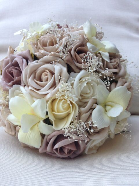 IVORY CREAM MOCHA CHAMPAGNE ROSES PEARL ORCHIDS VINTAGE BRIDES POSY BOUQUET