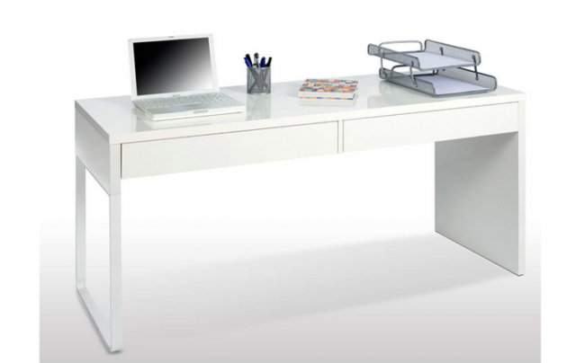 Scrivania Ikea Bianca Con Cassetti.Scrivania Portacomputer Touch Con 2 Cassetti Cm 138x50x75h Bianco Lucido