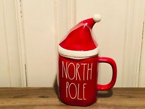 Rae-Dunn-Christmas-By-Magenta-NORTH-POLE-Red-Mug-with-Red-Hat-Mug-Topper-HTF