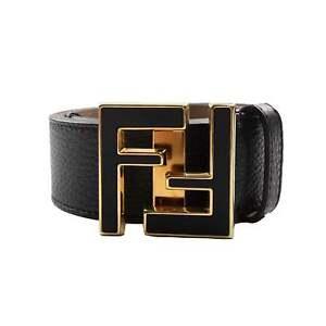 negozio online a8857 8cea4 Dettagli su Fendi FF Oro con Logo in Pelle Cintura Nera- mostra il titolo  originale