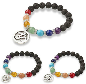 7 Chakra Bead Bracelet Gemstone Crystal Jewellery Gift Bangle Stress Healing UK
