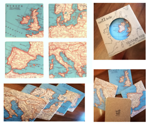 Retro Vintage Map of Europe Design Coasters Set of four Sass & Belle BOXED GIFT Home, Furniture & DIY