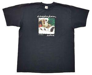 Vintage-Amsterdam-Holland-Mark-Raven-Art-Tee-Black-Size-XL-Mens-T-Shirt