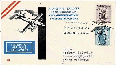 Sanft Österreich Sonderbeleg Aua Eröffnungsflug Salzburg Diverse Philatelie Barcelona