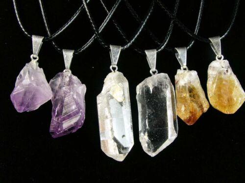 "SIX Natural Crystal Point Pendants--Quartz Amethyst /& Citrine--on 18/"" Ncklcs!"