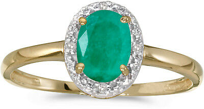 14k Yellow Gold Oval Emerald And Diamond Ring CM-RM1789X-05