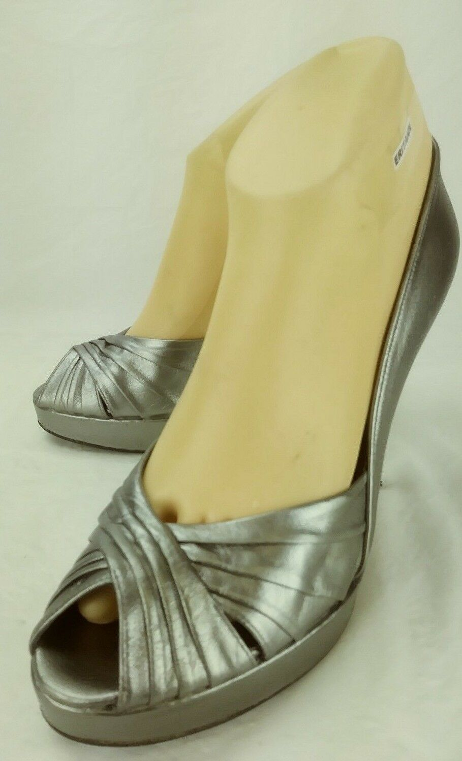 Stuart Weitzman SCOOP NYC Wos Heels Platforms EW63624 US8.5M Silver Leather 6267