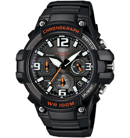 Casio Men's Chronograph Watch, 100 Meter WR, Black Resin, Date,   MCW100H-1AV
