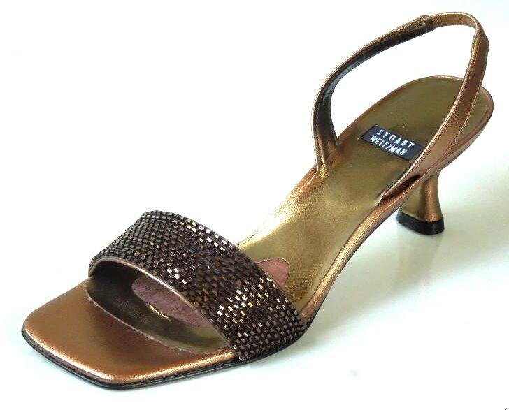 precios bajos Nuevo Stuart Weitzman  Clarín  con cuentas de de de cuero de bronce zapatos sandalias Zapatos 5  Mercancía de alta calidad y servicio conveniente y honesto.