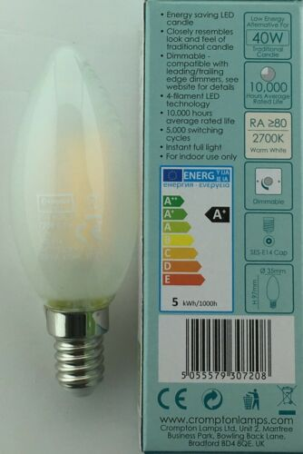 LED FILAMENT CANDLE 5W SES E14 PEARL WARM WHITE 2700K 7208 DIMMABLE CROMPTON