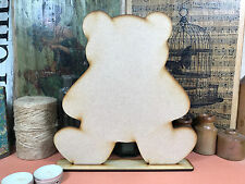 WOODEN TEDDY BEAR FREESTANDING SHAPE 24cm Stand Table Decoration Wood Blackboard